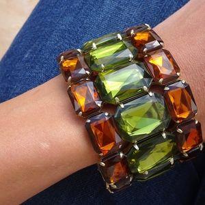 Jewelry - Big Olive Green & Amber Stretch Bangle Bracelet
